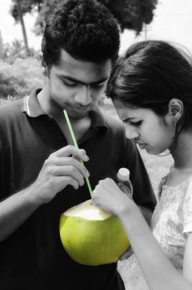 Couple with coconut