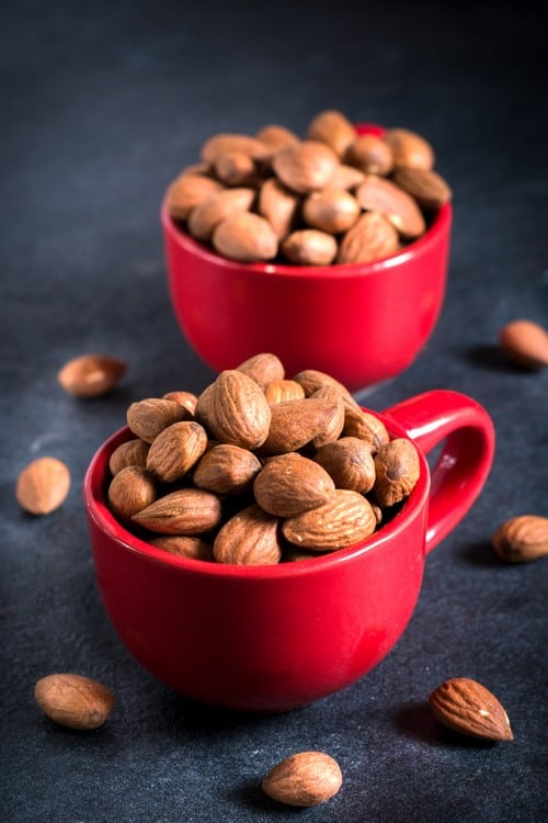 Almonds in cups