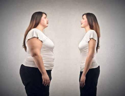 Overweight versus skinny woman