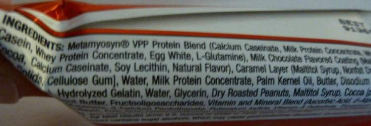 Met-Rx Protein Bar ingredients