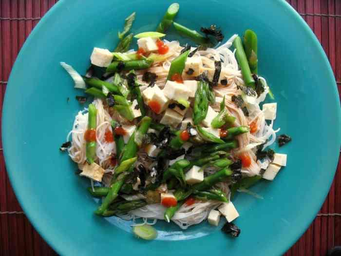 Asparagus and Tofu Cold Noodle Salad