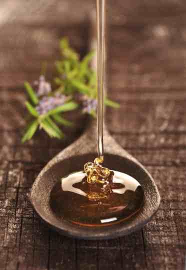 Honey on a spoon