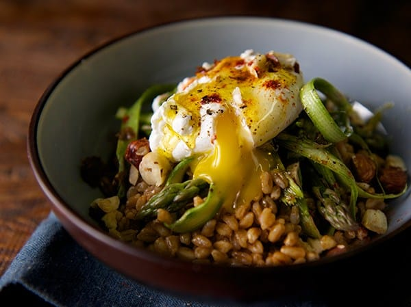 Warm Farro Asparagus and Poached Egg