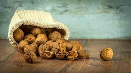 Spilled bag of walnuts