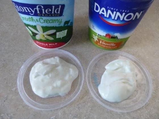 Comparison of yogurts