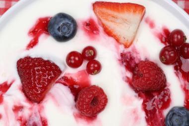 Fruit yogurt for breakfast