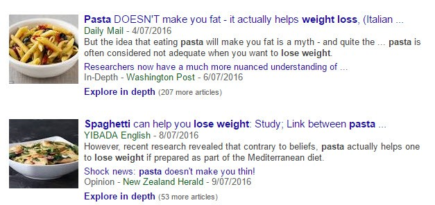 Pasta and weight gain