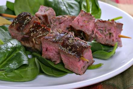 Beef Steak Skewers Over Spinach