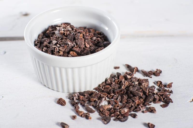 Bowl of cocoa nibs