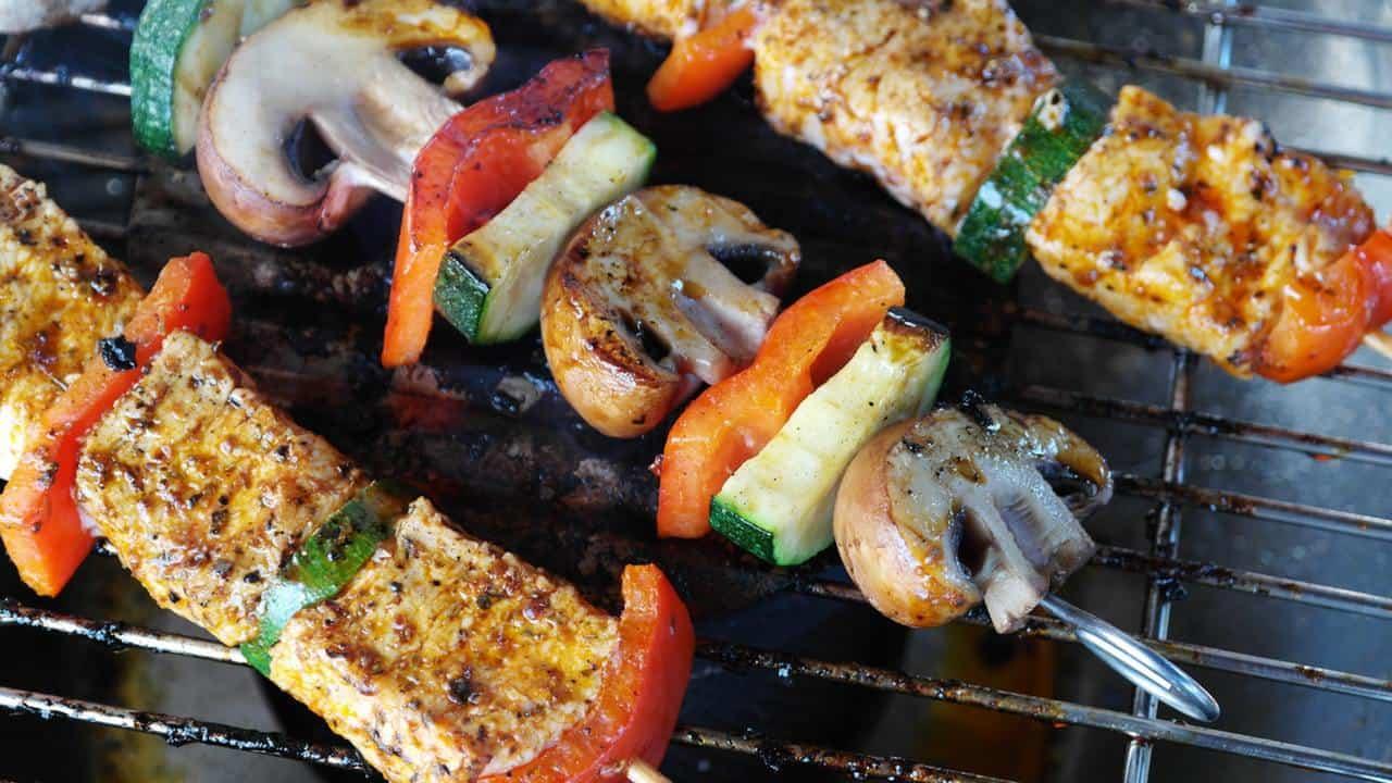 Mushrooms on kebabs