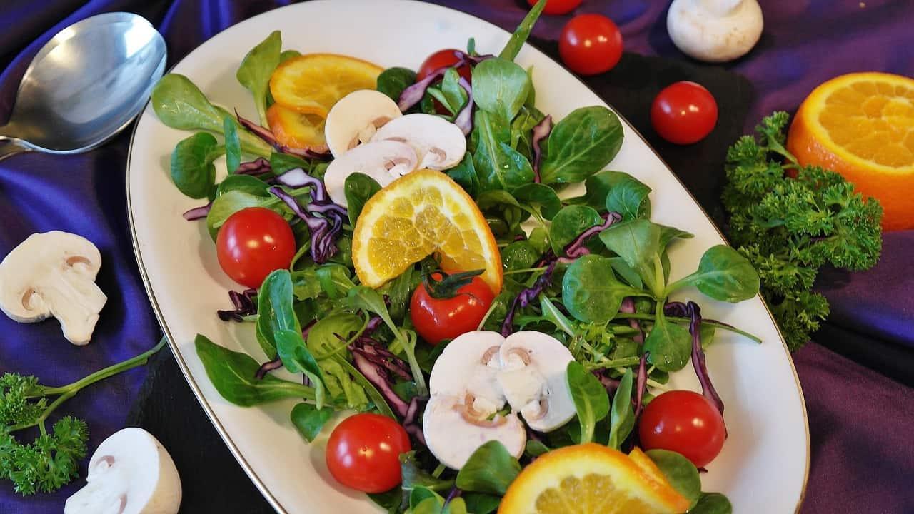 Raw mushrooms on a salad