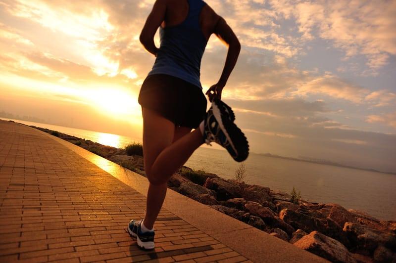 Athlete running at the seaside