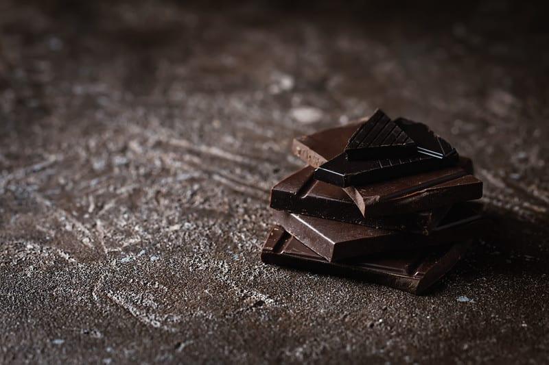Dark chocolate on a table