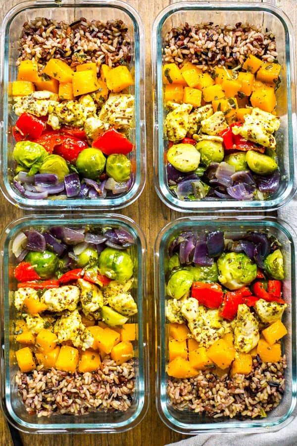 Meal Prep Chicken & Butternut Squash Harvest Bowls