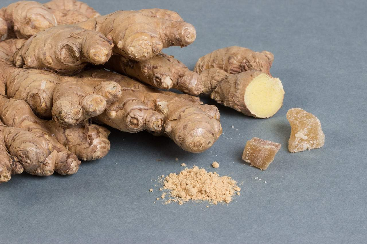 Ginger ground root and candied