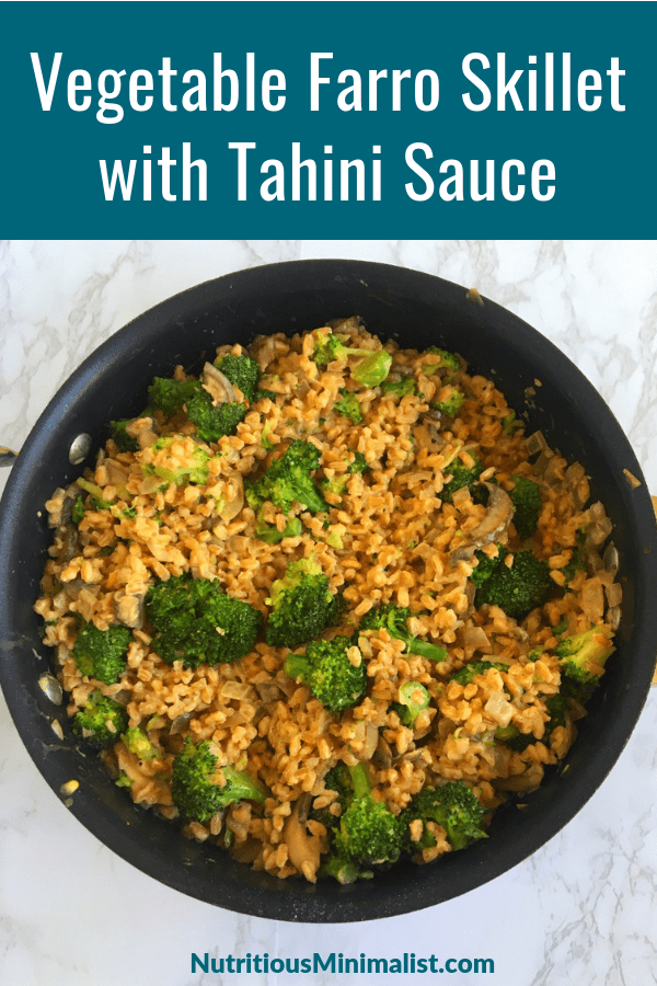 vegetable farro skillet with tahini sauce