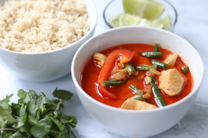 Thai red curry in bowl