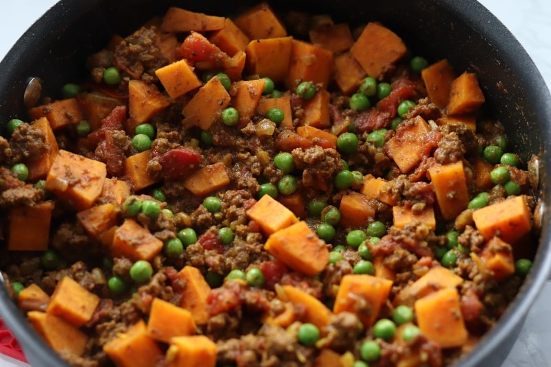 Ground Beef and Sweet Potato Skillet