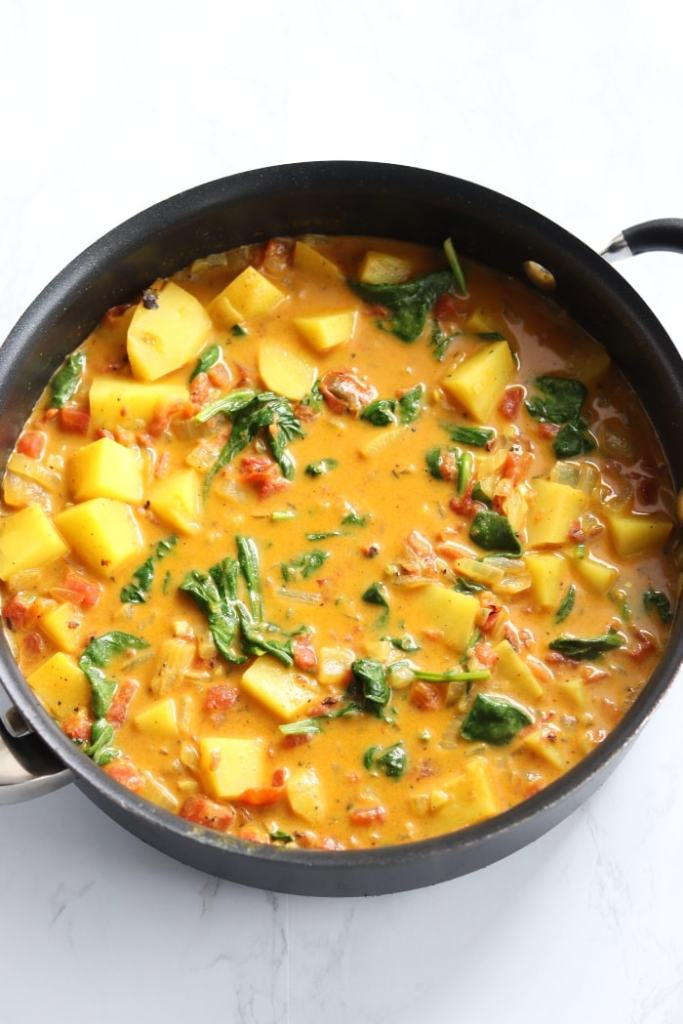 yellow curry with potatoes and spinach