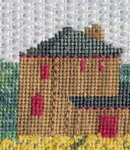 pattern darning as method for needlepoint sky in napa valley landscape designed by Janet Perry