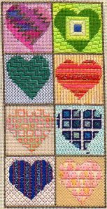 heart twinchy needlepoint bellpull, designed and stitched by needlepoint expert janet m perry