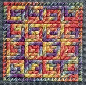 log cabin needlepoint quilt block