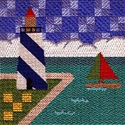 lighthouse hand painted canvas needlepoint by Sandy Grossman-Morris, stitch guide by Janet Perry
