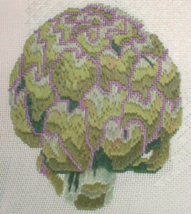 artichoke hand paint canvas needlepoint by jean smith, done in longstitch