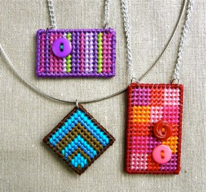 needlepoint pendants from plastic canvas from Crafty Pod