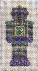 needlepoint robot by petei, stitch guide by janet perry