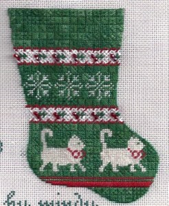 Game needlepoint Mindy mini-sock