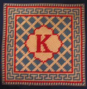 initial needlepoint pillow