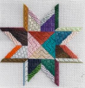 needlepoint star ornament from Patt & Lee, stitched by needlepoint expert janet m perry using gumnuts wool thread