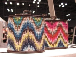 jonathan Adler Bargello needlepoint Flasks
