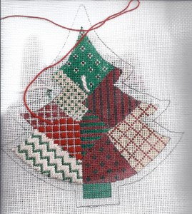 painted stitches tree needlepoint, stitched by needlepoint expert janet m perry, vintage canvas by kris