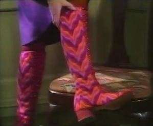 erica wilson's bargello needlepoint boots from her PBS series in 1971