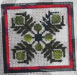 needlepoint hawaiian quilt from Keri Designs stitched by needlepoint expert janet me perry using DMC color variations threads