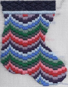 needlepoint bargello mini-sock based on amish bargello quilt, adapted and stitched by needlepoint expert janet m. perry