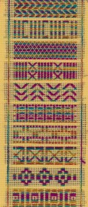 kogin-sampler in japanese pattern darning designed and stitched by needlepoint expert janet m. perry