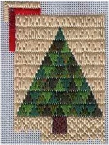 Trianglepoint Christmas ree Ornament designed by needlepoint expert Janet M. Perry