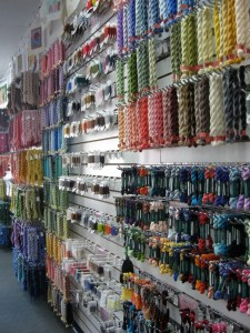 wall of needlepoint threads