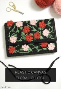 floral plastic canvas clutch purse