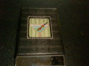 martini needlepoint business card case