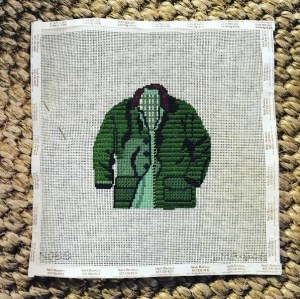 barbour coat needlepoint ornament