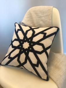 black & white needlepoint  pillow