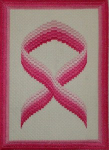 Pink Ribbon Bargello Needlepoint