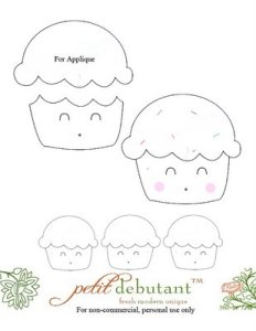 kawaii cupcake outline