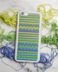tribal needlepoint phone case, copyright Charlotte Lamontagne