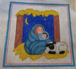 Vintage nativity needlepoint canvas
