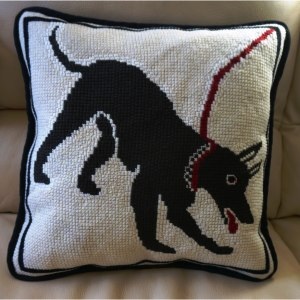 Pompeii dog needlepoint pillow